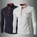 Estilo britânico Homens Da Moda Camisa de Bolinhas 2016 Novos Europeus Camisas dos homens Slim Fit Casuais camisa de Manga Longa Camisa Masculina