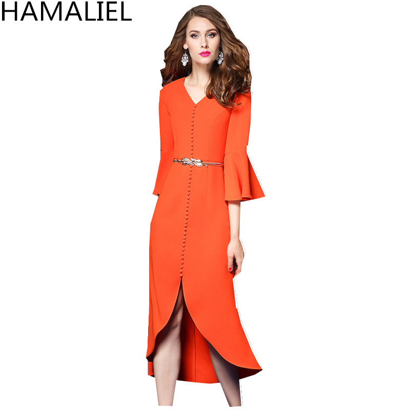 HAMALIEL Business Asymmetrical Autumn Women Dress 2018 Orange Flare Sleeve Single Breasted V Neck Bodycon OL Dress With Belt ...