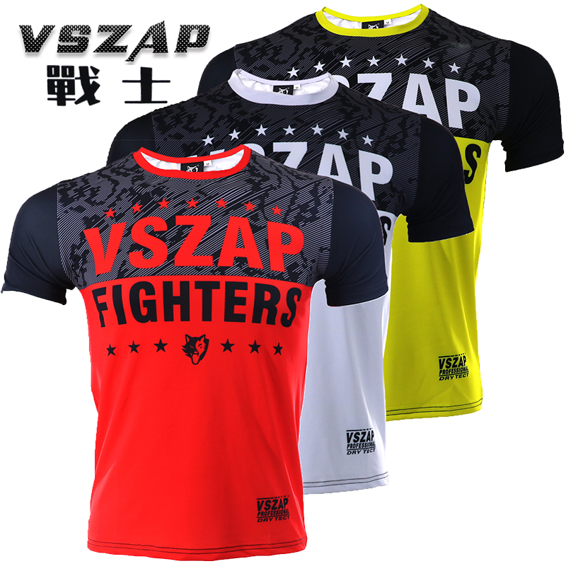2018 FIGHTERS VSZAP Compression T-Shirts Quick Dry MMA Rashguard Boxing T Shirt Men MMA Gym Kickboxing Muay Thai Boxing Training