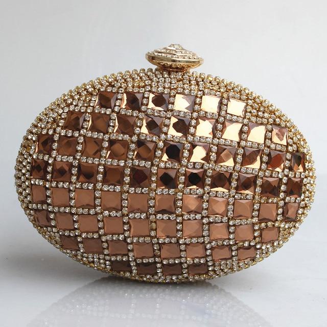 POP Shinny Full Glass Diamond golden Oval Mini Hard Case Evening Bag Gold Metal Full Diamond Bridal Package Party Clutch Purse