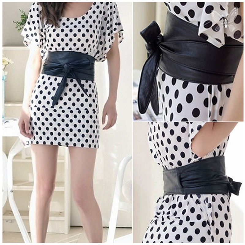 Women Lady Soft PU Leather Wide Bowknot Tie Bow Wrap Around Waist   Belt   Waistband Double-sided Bands Slim Body Shaping