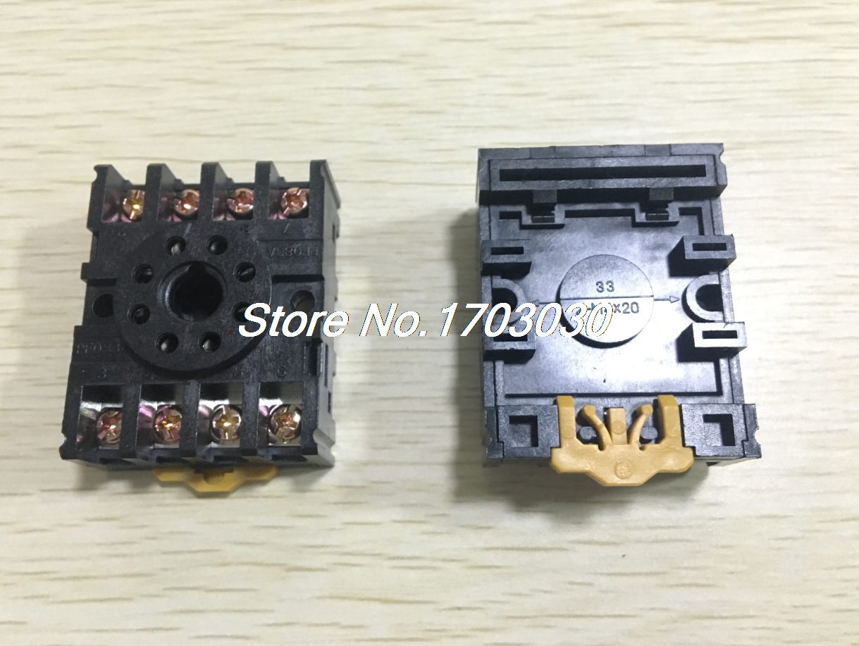 10pcs 8 Pin Power Timer Relay Socket Base Holder PF083A for MK2P-I DH48S 3 pcs din rail mounting plastic relay socket base holder for 8 pin relay pyf08a