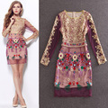 HIGH QUALITY S-XL New Fashion 2016 Women's Long Sleeve Gauze Gold Thread Luxury Embroidery Dress Summer Dress