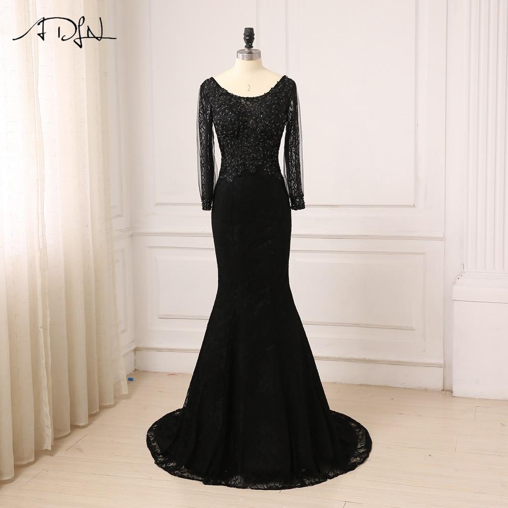 Discount Designer Dresses Cocktail: ADLN Cheap Black Mermaid Evening Dresses Long Sleeves Lace