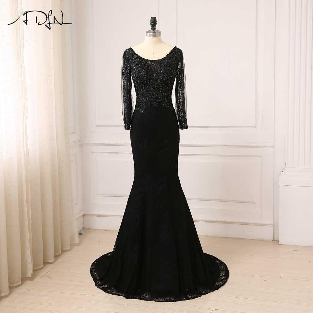 ac3e2c49e88 Adln Дешевые Черный Русалка Вечерние платья одежда с длинным рукавом  Кружево арабский вечернее платье для выпускного