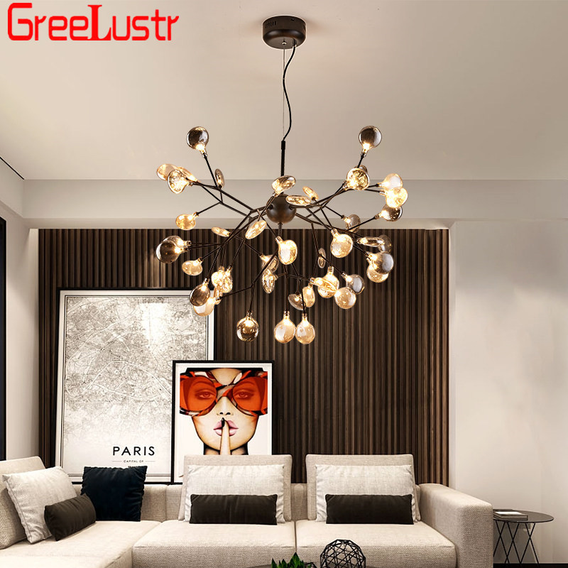 Nordic Design Firefly LED Chandelier Light Fixture G4 Tree Branch Hanging Lamp Dining Room Lustres Chandeliers Home Lighting