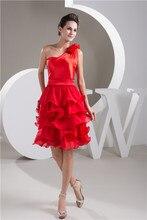 2016 kostenloser Versand Red Hot Verkauf Sexy Charming Kurze Trägerlose Schulter Blume Satin Rüschen Günstige Mini Cocktailkleider 8190