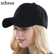 Xthree solid men's wool baseball cap winter cap warm bone snapback hat gorras fitted hats for women