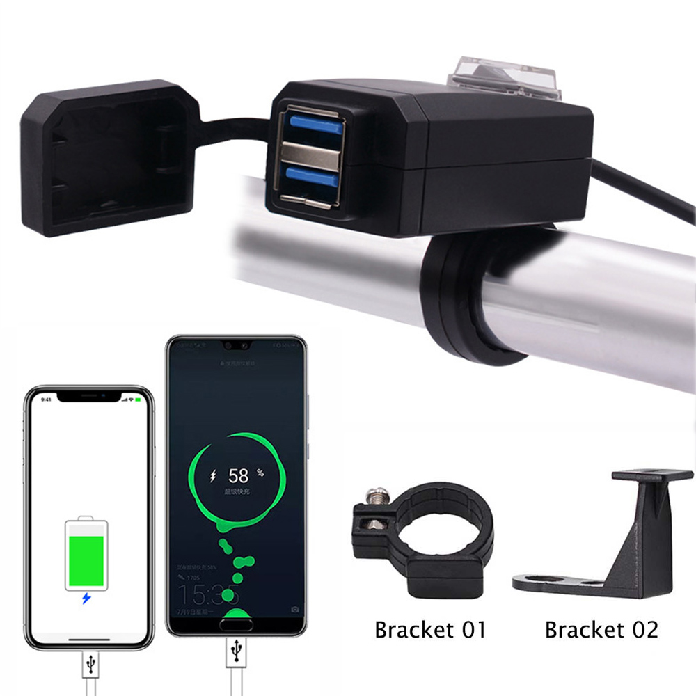 Usb-Charger Power Usb Moto Motorbike-Handle/mirror Motorcycle QC3.0 12V for Universal