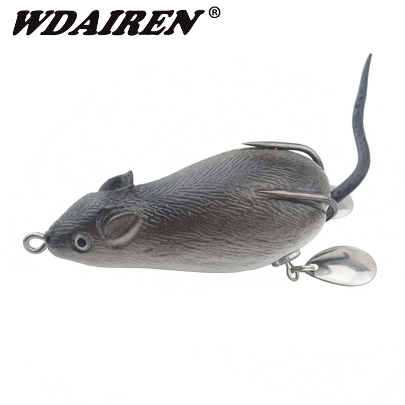 1Pcs Mouse Lure 7cm 17.5g Fishing Lures Treble Hooks Top Water Ray Frog Artificial Crank Strong Artificial Soft Bait WD-454