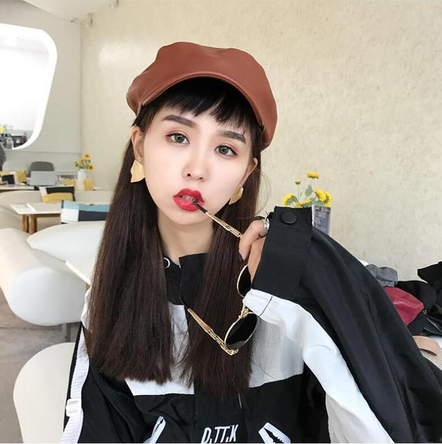 New Korean fashion painter cap Women leather Beret Hat autumn winter Cap  Female Casual Dome Bare Chapeau hats Boina Octagonal c174e493130