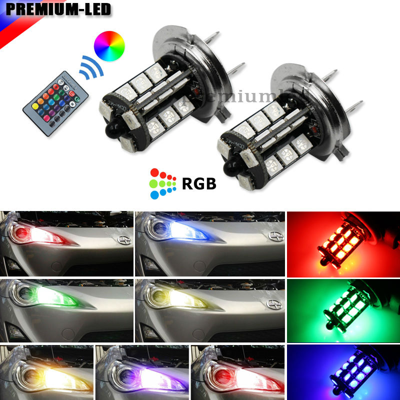 (2) Remote Wireless RGB H7 LED Replacement Bulbs  For Hyundai Genesis Sonata Veloster Accent on High Beam Daytime Running Lights 3w led rgb high power led lamp bulbs rgb six legs 350ma 3 2 3 4v taiwan genesis hpo chips free shipping