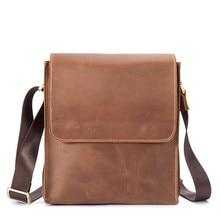 Men's Bag Crazy Horse Genuine Leather Handmade Solid Tide One Shoulder Portable Diagonal Hard Computer Bag Casual Briefcase