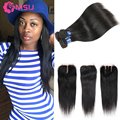 8A Brazilian Virgin Hair Straight With Closure 4 Bundles tissage bresilienne avec closure Rosa Hair Products With Lace Closure
