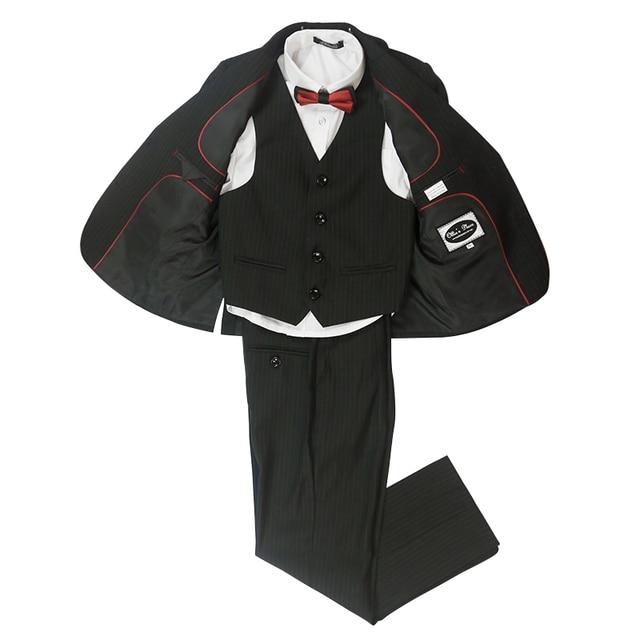 軽快な男の子は結婚式ストライプ黒学校フォーマルスーツ衣装ランファンギャルソンマリアージュ