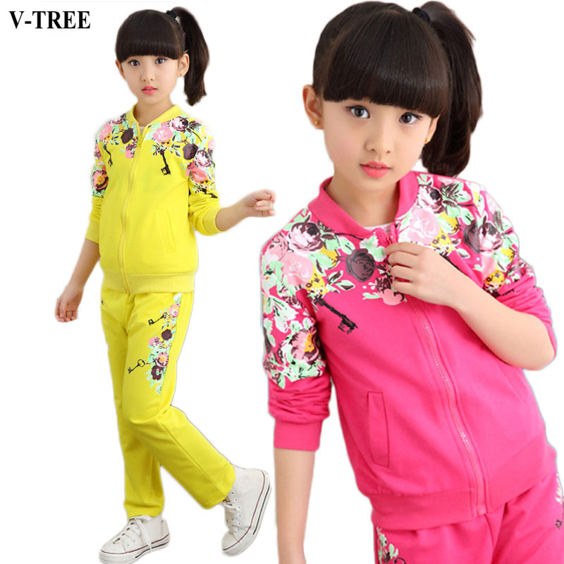 V-TREE Girls Clothing Set 2017 Autumn Floral Clothes Set For Girl Children Sport Suit Kids tracksuit Teenage 10 12 Years lvanita spring autumn 5size girls boys clothing set floral kids suit set casual two piece sport suit for boys tracksuit children