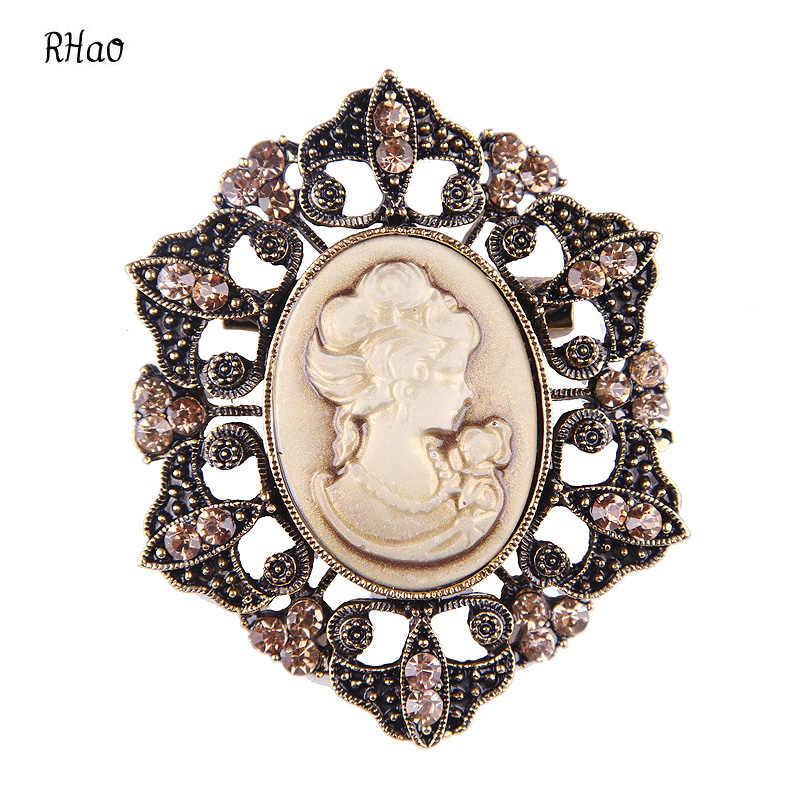 Fashion Perhiasan Antik Emas & Perak warna Vintage Bros Pins Wanita Ratu Cameo Bros Berlian Imitasi Untuk Wanita Hadiah Natal