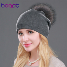 Boapt pompon raccoon skullies cashmere beanies beanie wool knitted thick fur