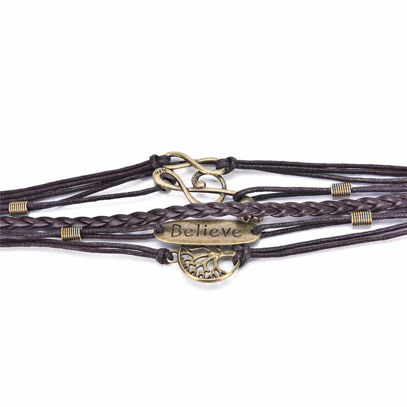 2018 горячие новые модные плетеные кожаные дерево Череп Лук Bilezik цепь открытие браслет, женская бижутерия подарок мужской Pulseras