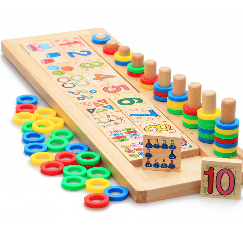 Baby Toys Montessori Digital/Link Game Matching Board Blocks Wooden Toys Math Teaching Mahjong Shapes Cognition Educational Gift