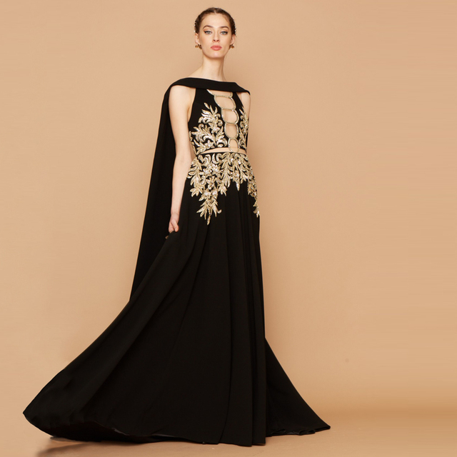 Fashion Black Evening Dresses Long A Line Gold Applique Beaded with ...