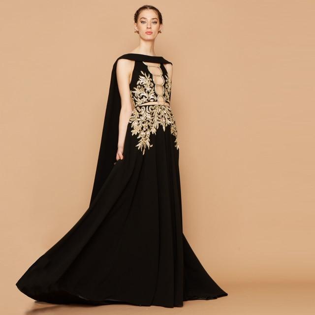 Mode Schwarzen Abendkleider Lange A Line Gold Applique mit Cape Prom ...
