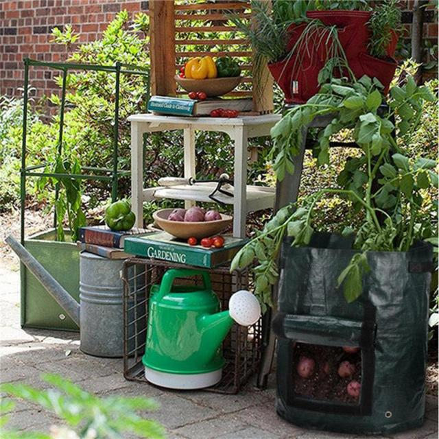 2 Pcs 50L Planting PE Bags Cultivation Garden Pots Planters Vegetable Fruit Potato anti-aging Grow Bags Farm Home Garden Tools 2