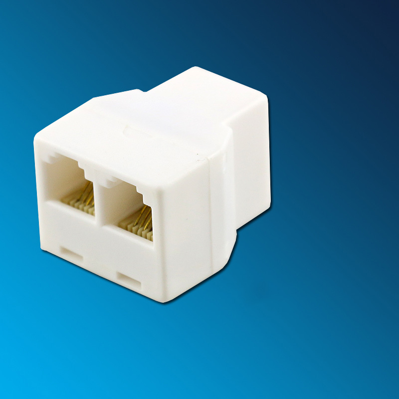 RJ11 6P4C Male to Dual Female Socket Two Way Modular Phone Telephone Adapter Splitter White zebra 2 way dual action 4