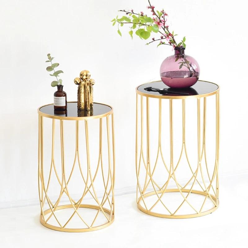 modern style light luxury iron art coffee table gold model room soft decoration creative sofa small side table corner