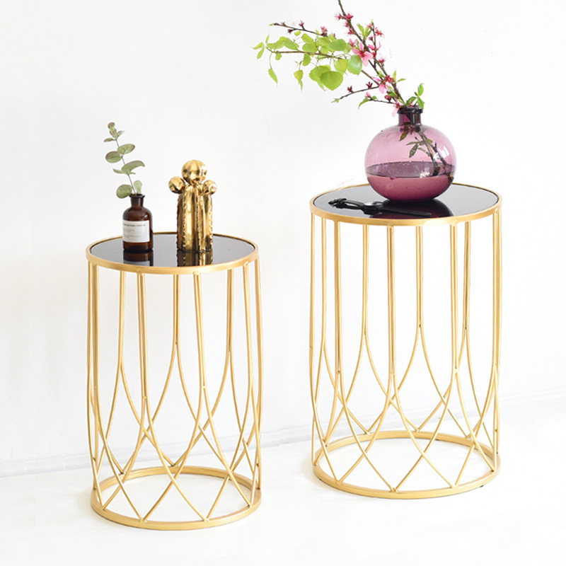 Style moderne lumière de luxe fer Art Table basse or modèle chambre décoration douce canapé créatif petit coin de Table latérale