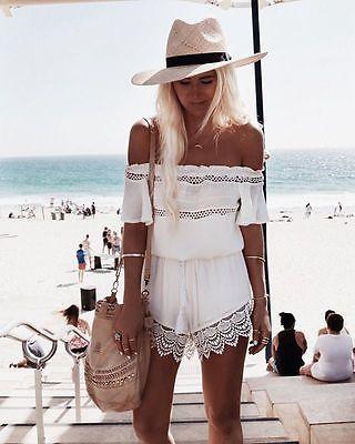 Hot Womens Mini Playsuit Ladies   Jumpsuit   Summer Shorts Beach Off shoulder Lace   Jumpsuit
