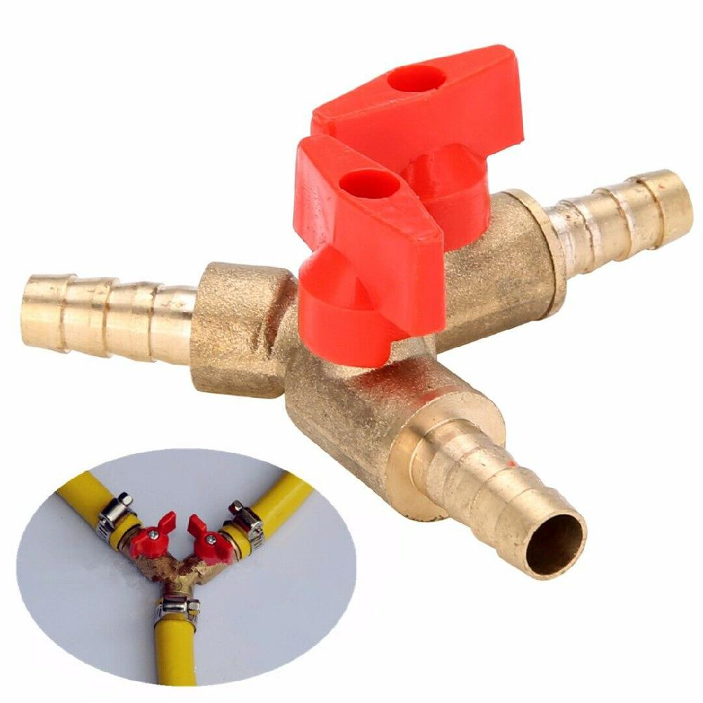 3/8in 10mm Brass Y 3-Way Shut Off Ball Valve Fitting Hose Barb Fuel Gas Clamp Tee