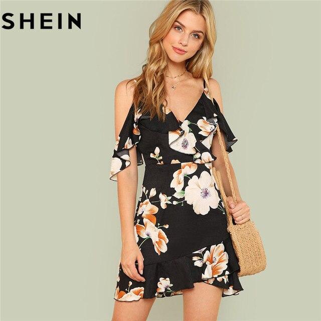 SHEIN Asymmetrical Ruffle Tropical Cami Dress Women Spaghetti Strap  Sleeveless Backless High Waist Slim Dress 2018 Boho Dress 513a20cc34
