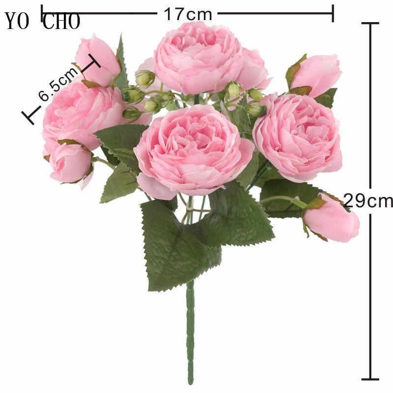 YO CHO 신부 로즈 웨딩 부케 신부 들러리 모란 꽃다발 인공 실크 꽃꽂이 홈 파티 장식 웨딩 용품