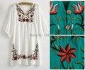 Vintage 70 s mexican étnico bordado de la flor vestidos de las mujeres, boho hippie casual dress mujeres de talla grande ropa de las mujeres tops, vestidos