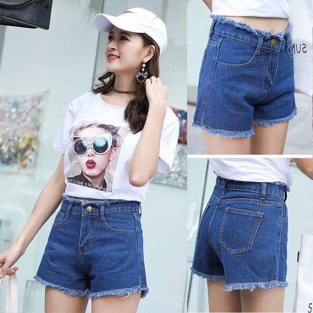 Blue Crimping Denim Jeans Shorts For Women 61