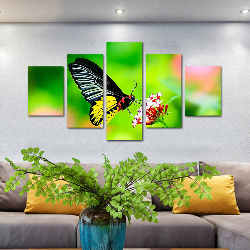 Unframed HD Print 5 Canvas Art Painting Butterflies And Flowers Living Room Decoration Spray Painting Mural Unframed