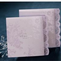 جديد 50 قطعة/الحزمة الحرفية الدانتيل الأنيق تصميم بطاقة دعوة الزفاف مخصصة المطبوعة ورقة الداخلية مع المغلف