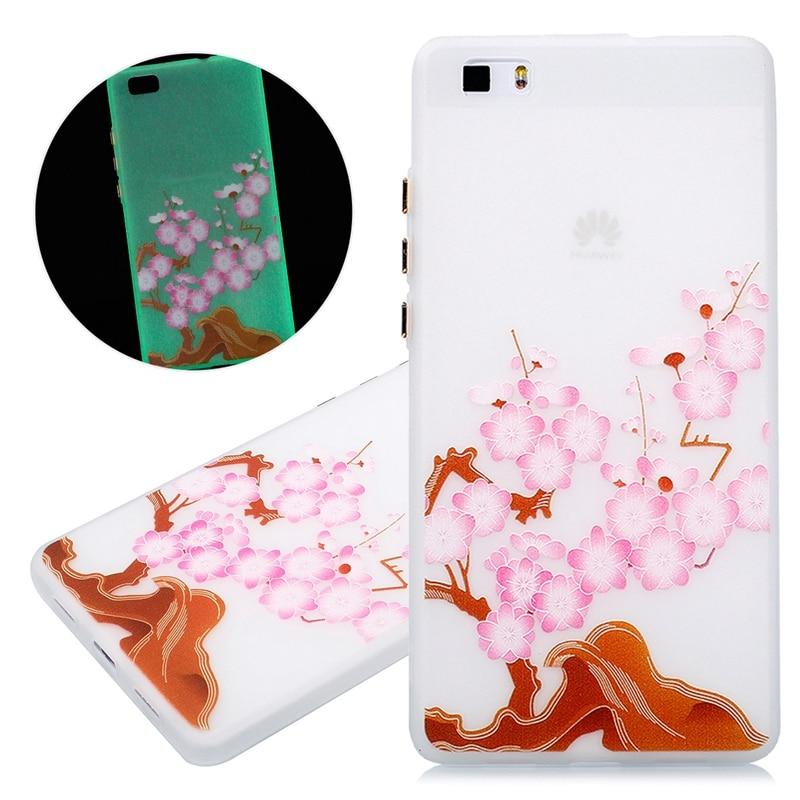 Para huawei p9 lite p8 lite case tpu soft phone cases noctilucence accesorios de