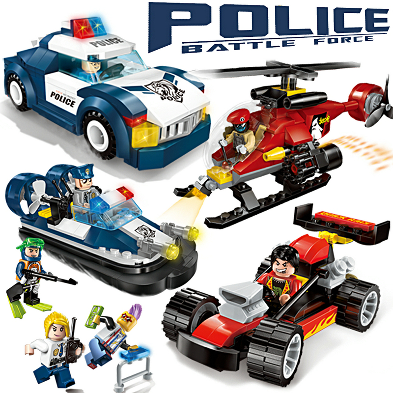 Enlighten Police Educational Building Blocks Toys For Children Kids Gifts Cars Helicopter Boat Compatible With Legoe
