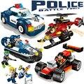 Policía enlighten educational building blocks juguetes para los niños regalos mini cars barco helicóptero compatible con legoe