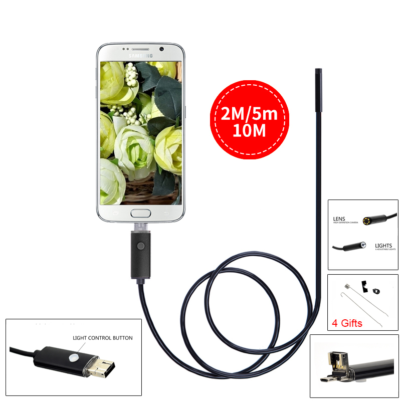 Endoskop 2 IN1 Android USB Endoscope 7mm 2M 5M 10M HD Endoscopio Camera IP67 Endoscopio  Android Borescope USB Inspection