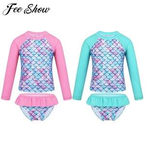 Little Girls Two Pieces Rash Guard Swimsuit Set Long Sleeve Fish Scales Print Bikini Bathing Suit UPF50+ Beach Swimwear(China)