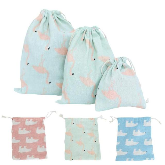 1pc Flamingo Christmas Gift Bag Linen Drawstring Storage Bags Organizer Holder Ng For New Year