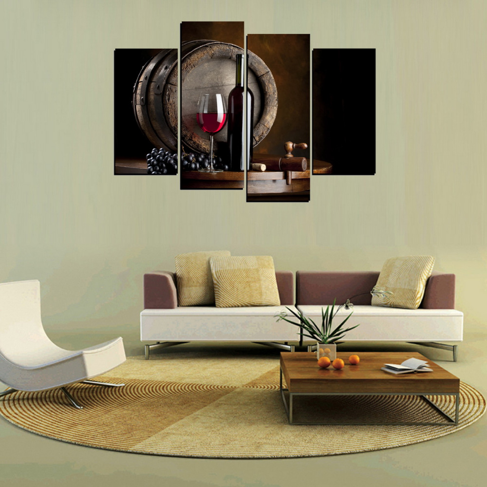 4 panels canvas print wine bottle and wood case painting on canvas 4 panels canvas print wine bottle and wood case painting on canvas wall art picture home decor mus042 in painting calligraphy from home garden on geotapseo Images