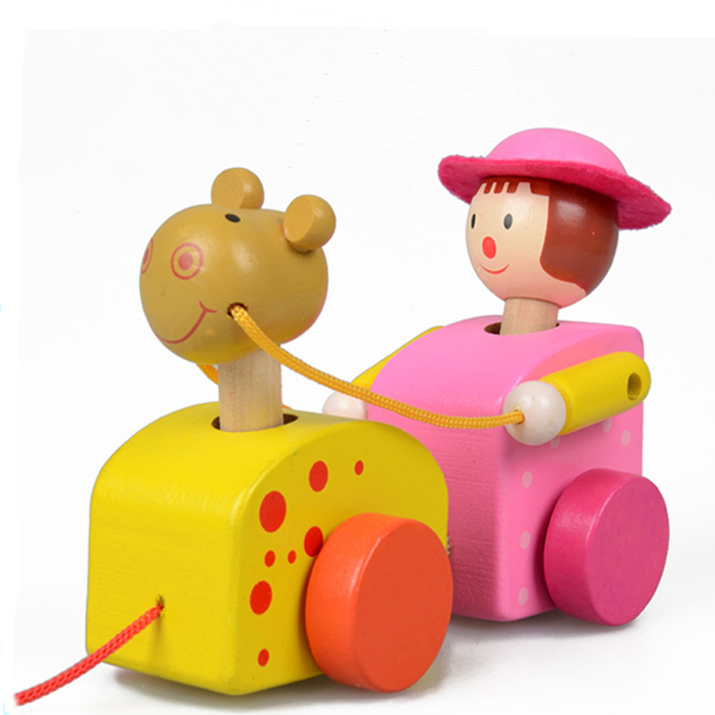 1pc baby wooden learning walking car animals worm chicken rabbits model building kits gifts montessori educational toys for kids