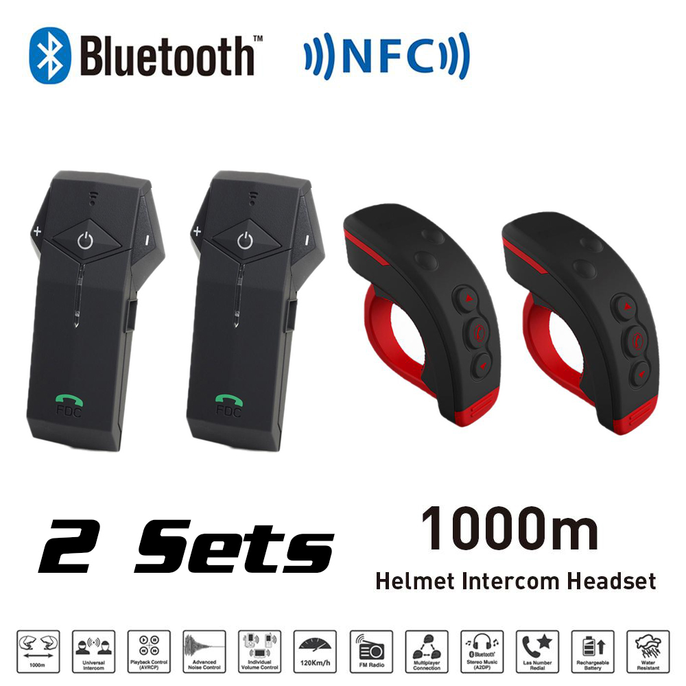 2 Sets Black red 1000M BT Motorcycle Helmet Bluetooth Intercom Interphone Headset with NFC FM Function + L3 Remote Control 2016 newest bt s2 1000m motorcycle helmet bluetooth headset interphone intercom waterproof fm radio music headphones gps