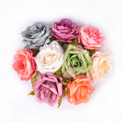 5Pcs Silk Blooming Rose 7cm Artificial Flowers Head for Wedding Home Decoration Bridal Wreath Gifts Scrapbook Craft Fake Flower