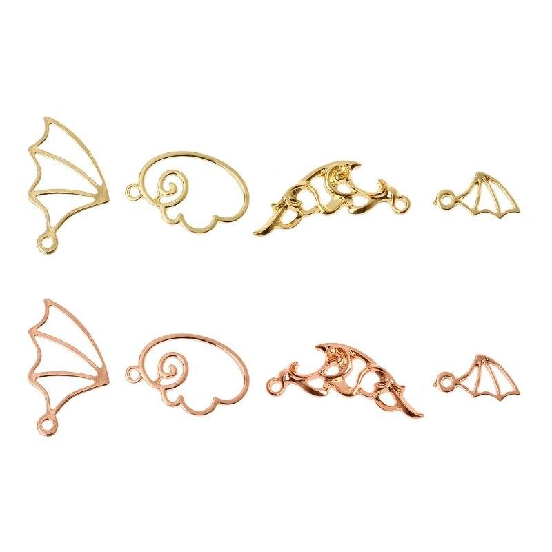 Evil Angel Wing Metal Frame Pendant Open Bezel Setting UV Resin Jewelry Charm