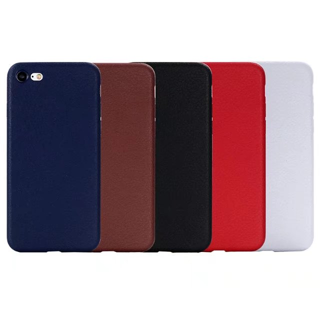 Hot 5 Solid color Red Brown Black Blue White Stripping Leather pattern TPU soft phone case for iPhone 7/7 plus